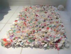 Handmade Rag Rug Shabby Chic Proddy Pastel Muted Tones White Cream