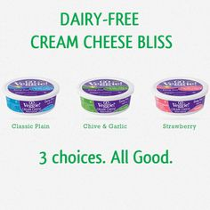 Dairy-Free Cream Cheese in 3 flavors including garlic & chive. Makes the perfect dip for your next party! Go Veggie, Veggie Recipes, Dessert Recipes, Lactose Free, Dairy Free, Veggie Appetizers, Cheese Alternatives, Garlic Chives, Healthy Dips
