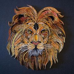 """""""Hear Me Roar"""" My 12""""x12"""" Quilled Lion is mostly finished. I'll spend the next few days tweaking but he was done enough to photograph. He took roughly 30 hours to complete though that wasn't entirely steady. I used gilded paper to highlight his mane and love the effect. Colors are true this time around. Closeups and different angles will be on my website later tonight for those interested. Do you prefer progress shots or only end result? I don't normally photograph WIP, but will continue…"""