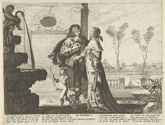 Jan Christoffel Jegher | De jeugd, Jan Christoffel Jegher, Abraham Bosse, Claes Jansz. Visscher (II), 1643 - 1666 | Een liefdespaar, vergezeld door Amor, op een terras. Links op de voorgrond een fontein, bekroond met een putto zittend op een zwaan. Rechts op de achtergrond een tuin met een pauw. In de marge een achtregelig gedicht in het Nederlands en in het Frans dat verwijst naar jeugdigheid, maar ook naar de vergankelijkheid van de jeugd. Tweede prent uit een serie van vier met de…