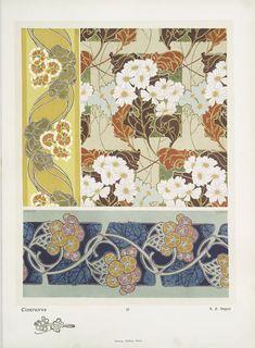 New ideas art nouveau embroidery inspiration Art Nouveau Pattern, Art Nouveau Design, Pattern Art, Art Nouveau Illustration, Jugendstil Design, Art Chinois, Art Aquarelle, Alien Concept Art, Art Deco