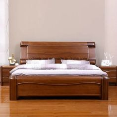 Solid Wooden Bed Modern Double Beds picture from Qingdao Yuhang Household Products Co. view photo of Wood, Solid Wooden, Double Beds.Contact China Suppliers for More Products and Price. Diy Bed Frame, Bedroom Furniture Design, Wooden Bed Design, Double Bed Designs, Bedroom Bed Design, Bed Design Modern, Bedroom Design, Modern Bed, Bed Furniture