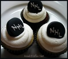 I could make the pucks with chocolate dipped oreos and put the boys team # on it.