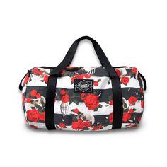 Skull N' Roses Duffle Bag #roses #skulls #WomenBags #terror #duffel #scary #duffle #BlackAndWhiteStripes #halloween