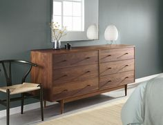 Room & Board - Grove Wood Dressers - Marlo Bed with Grove Collection - Modern Bedroom Furniture Vintage Bedroom Furniture, Bedroom Dressers, White Furniture, Home Decor Bedroom, Rustic Furniture, Master Bedroom, Kitchen Furniture, Outdoor Furniture, House Furniture