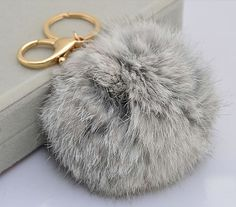 Cute Genuine Rabbit fur ball pom pom keychain for by YogaStudio55