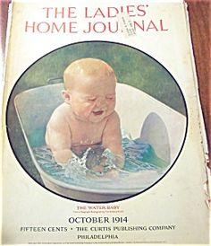 $33 October, 1914 Vintage LADIES HOME JOURNAL COVER WATER BABY CHILDREN