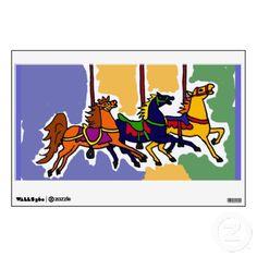 Carousel Horse Folk Art Wall Decal #horses #carousel #art #folkart #animals #walldecal #gifts #zazzle #petspower