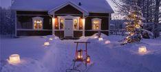 Finland, cottage, skiing, snow, ice lantern