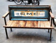 metal furniture From vintage tailgates to benches in metals furniture with tailgate reclaimed wood car parts Bench Barn Wood Projects, Reclaimed Wood Projects, Reclaimed Furniture, Metal Projects, Repurposed Furniture, Diy Projects, Handmade Furniture, Reclaimed Barn Wood, Recycled Wood