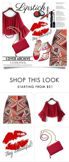 """""""Give Me Fall Red"""" by clotheshawg ❤ liked on Polyvore featuring beauty, Topshop, WALL, Jimmy Choo, TravelSmith and Shiseido"""