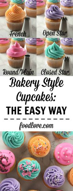 How to make bakery style cupcakes, the easy way! With a few tips and tricks, you can bake and pipe your best cupcakes ever. How to make bakery style cupcakes, the easy way! With a few tips and tricks, you can bake and pipe your best cupcakes ever. Icing Tips, Frosting Tips, Frosting Recipes, Cupcake Recipes, Dessert Recipes, Baking Recipes, Snack Recipes, Snacks, Frost Cupcakes