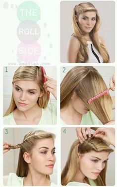 Glamorous roll perfect for parties five minute hairstyles, grease hairstyles, hairstyles, pin Grease Hairstyles, Side Hairstyles, Retro Hairstyles, Wedding Hairstyles, 1950s Hairstyles For Long Hair, Evening Hairstyles, Casual Hairstyles, School Hairstyles, Five Minute Hairstyles