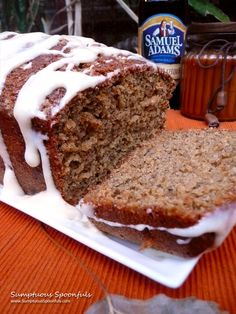 Sweet Harvest Pumpkin Ale Bread with maple cream cheese drizzle~ Sumptuous Spoonfuls