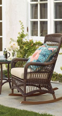 As soon as our beautifully woven Providence Wicker Rocker arrives on a front porch or promenade, family and friends are sure to follow. | Frontgate: Live Beautifully Outdoors