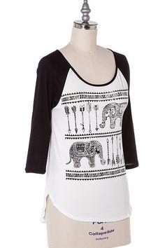 Womens long sleeve elephant print Tee-shirt 3/4 sleeve Young Adults