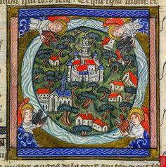 Four Winds. Revelations 7. 1-2. France c.1370-90. YT 10 f.11v. Brit Lib. by tony harrison, via Flickr