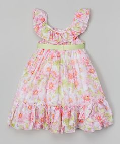 Take a look at the Pink & Green Floral Ruffle Yoke Dress - Toddler & Girls on #zulily today!