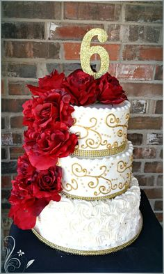 Red, White and Gold buttercream cake by MAC