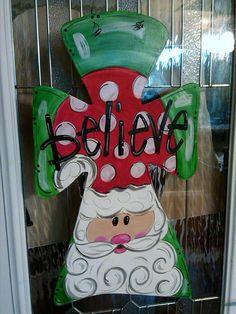 Believe Santa Cross Wood Door Hanger by ItsJustMarvelous on Etsy, $20.00