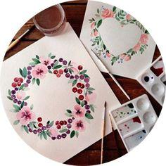 рисовать акварелью цветы открытки - Google Search
