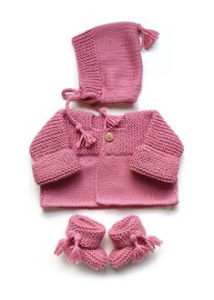 Knitted Baby Cardigan – PINK LADY -Two needle Knitting Pattern & tutorial