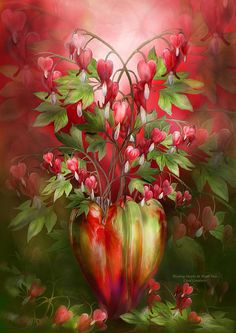 Bleeding Hearts In Heart Vase ~ Carol Cavalaris