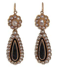 Victorian Teardrop Pearl Locket Earrings, circa 1840-60. 18K gold, natural pearls, and black enamel.
