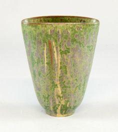 Arne Bang studio pottery mottled green glaze vase oval flared form, incised marks and monogram numbered 14.