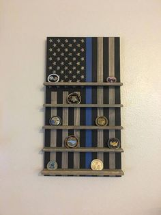 Brothers In Blue Flag Challenge Coin Rack, Thin Blue Line Challenge Coin Rack, Thin Blue Line Coin Holder, Police Brothers In Blue Flag Challenge Coin Rack Police LEOs Challenge Coin Holder, Challenge Coin Display, Police Gear, Police Wife, Police Officer Gifts, Flat Design, Police Challenge Coins, Police Crafts, Letter Wreath
