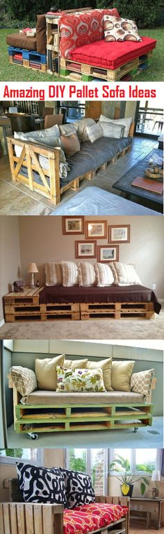 Amazing DIY Pallet Sofa Plans And Ideas | Make your own Pallet sofa from these simple ideas....................#diy, #diy_pallet.  Be sure to use pallets from known sources that you are certain DID NOT have chemicals stored on them.  And be aware, this furniture won't last beyond a year or two.  pallet wood is CHEAP and low grade