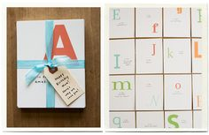A great gift idea to make for a loved one or kid. It can also be like flash cards that you go through at dinner time for a kids birthday where each person picks a card and tells the birthday boy/girl a word that describes them from the letter they picked.