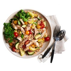 Chicken Couscous Salad ~ Using rotisserie chicken makes this a quick, easy, and healthy midweek dinner that taste great. Have fresh fruit and yogurt for dessert. Chicken Couscous Salad, Couscous Salad Recipes, Quinoa Salad, Dinner Bowls, Dinner Salads, Recipes Using Rotisserie Chicken, Chicken Recipes, Recipe Chicken, Cooking Recipes