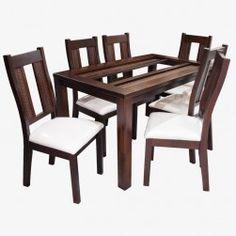 Juego comedor salamanca (chocolate) Glass Dining Room Table, Dining Bench, Diy Furniture, Chocolate, Home Decor, Dining Table Design, Desks, Furniture, Home