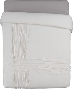 CB2 $149 | monochromatic merge.  White-on-white sleepscape dreams up tone-on-tone texture.  Woven of soft cotton/linen, flowing ribbons of fabric cross paths off-center in an organic ripple effect.  Duvet reverses to solid white.  Duvet has non-slip corner ties and hidden button closure. Cotton/linen250 thread countDuvet has non-slip corner ties and hidden button closure; reverses to solid whiteMachine wash.