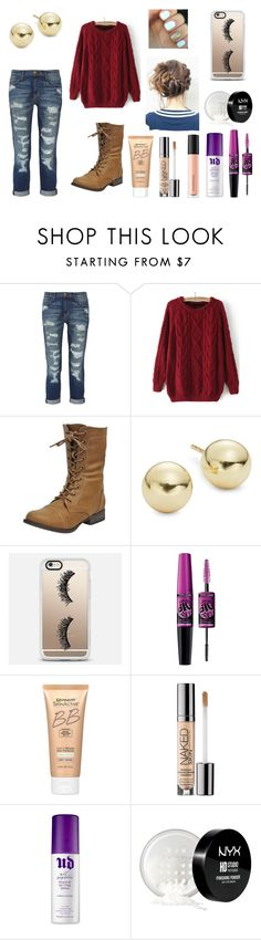 """""""Football Games"""" by graciswank on Polyvore featuring Current/Elliott, Lord & Taylor, Casetify, Maybelline, Miracle Skin Transformer, Urban Decay, NYX and Bare Escentuals"""