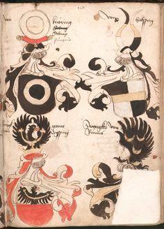 Wernigeroder (Schaffhausensches) Wappenbuch Süddeutschland, 4. Viertel 15. Jh. Cod.icon. 308 n  Folio 156r