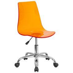 Salzburg Orange Acrylic Armless Task Chair