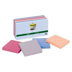 Post - it Notes Super Sticky Recycled Notes - 3 x 3 - Multi-Colored (90 Pads)