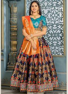 Buy Banarasi Silk Zari Work Navy Blue Lehenga Choli For Wedding Online Navy Blue Lehenga, Orange Lehenga, Banarasi Lehenga, Indian Lehenga, Silk Dupatta, Designer Bridal Lehenga, Bridal Lehenga Choli, Bollywood Lehenga, Wedding Embroidery
