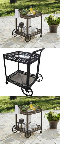 Bar Carts And Serving Carts 183320: Serving Cart Industrial Chain Design  Rustic Weathered Wine Rack Rolling Bar Cart  U003e BUY IT NOW ONLY: $129.12 Onu2026