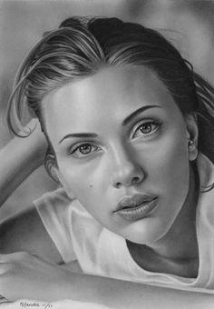 Portrait of Scarlett Johansson by manda on Stars Portraits - 1 Pencil Sketch Portrait, Portrait Sketches, Portrait Art, Realistic Pencil Drawings, Pencil Art Drawings, Art Drawings Sketches, Celebrity Drawings, Celebrity Portraits, Scarlett Johansson