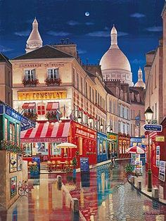 PARIS BY NIGHT  by Liudmila Kondakova - I stubbled across her works over 12 yrs ago while visiting Martin Lawrence Galleries in Beverly Hills.  What's so fascinating about her art is that the scenes morph from day to night with lighting changes.  She is FABULOUS!