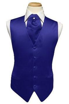 Amazon.com: Tuxedo Vest - Solid Satin with Matching Pin Ascot, Royal Blue (39-42 = medium): Clothing