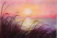 "Купить Картина из шерсти ""Закат на море"". - Картины и панно, пейзаж, закат на море, закат, море"