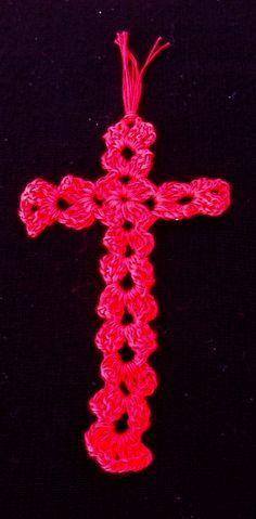 Crochet cross bookmark