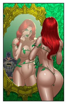 Ivy has caught Batman and is putting on poison lip stick to kiss him. This is the older Poison Ivy she has the normal skin tone .