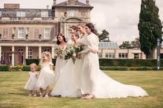 bridesmaids in 1930s inspired cream dresses | CHECK OUT MORE IDEAS AT WEDDINGPINS.NET | #weddings #bridesmaids #bridal #dresses #fashion #forweddings