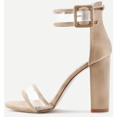 Clear Strap Block Heeled Sandals (690 MXN) ❤ liked on Polyvore featuring shoes, sandals, peep toe sandals, strappy block heel sandals, peep-toe flats, block heel sandals and clear sandals