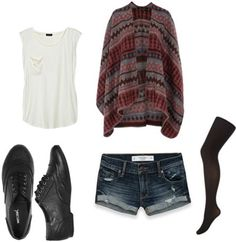 Wet Seal oxfords worn with denim shorts, a sweater, and tights